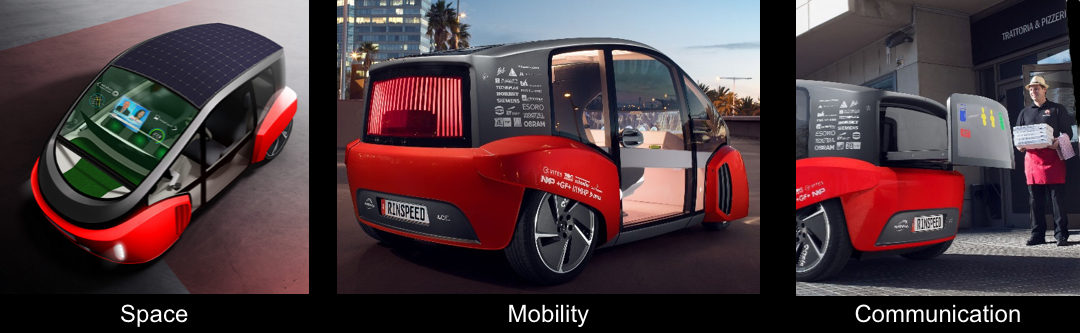 RINSPEED OASIS on Consumer Electronics Show (CES) and Autoshow in Geneva